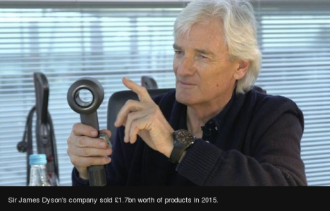 James Dyson with hairdryer -- BBC
