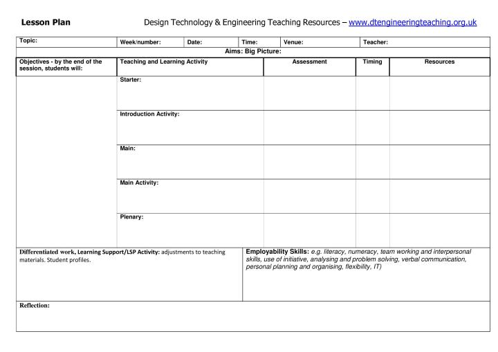 Dt  Engineering Resources Lesson Plan Template  Dt  Engineering