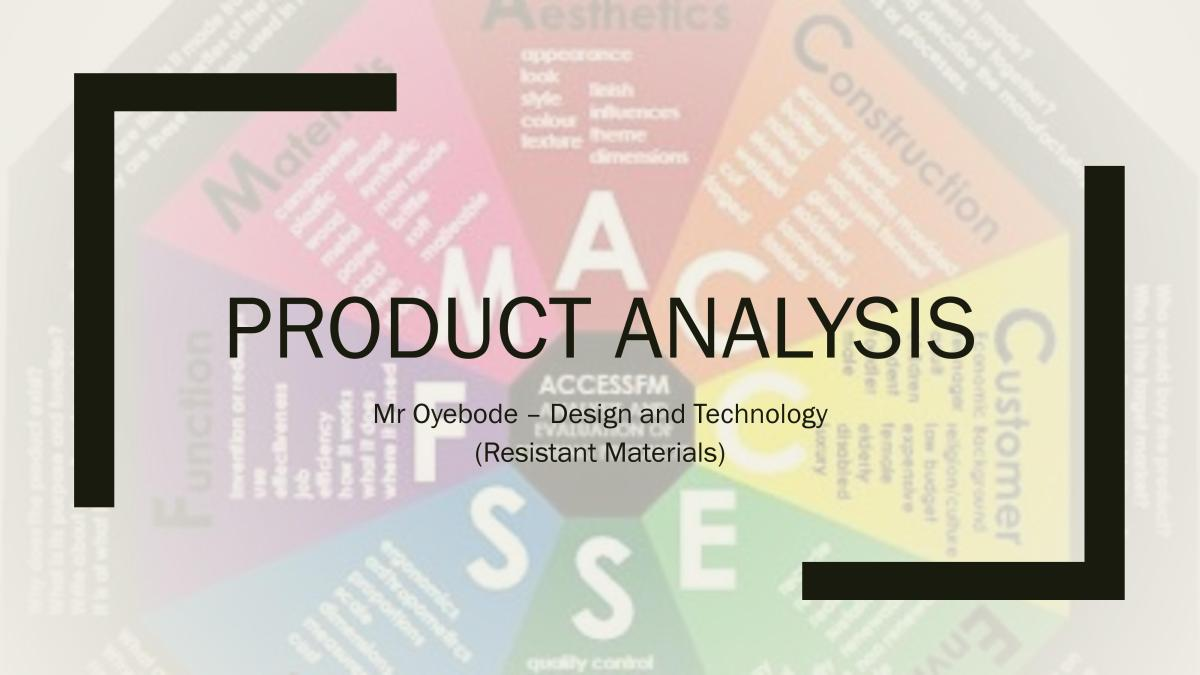 Design and Technology Resources: Product Analysis