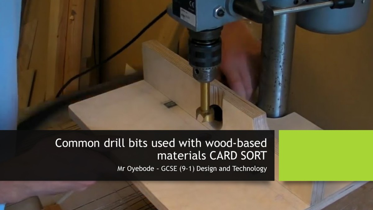 Design Technology Resources: Common drill bits used with wood-based materials CARD SORT